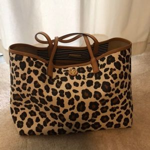 Tory Burch ocelot print Kerrington shopper tote